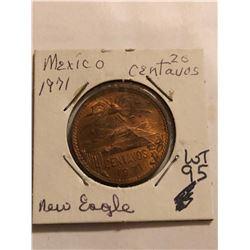 1971 Mexico 20 Centavos NEW EAGLE MS High Grade