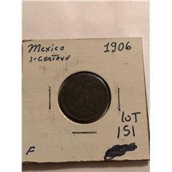 1906 Mexico 1 Cent Nice Early Fine Grade Coin