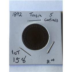 1892 TUNSIA 5 Centimos Coin