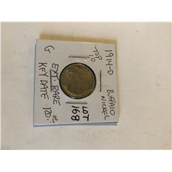 Extremely Rare Key Date TOP 10 1914 D Buffalo Nickel acid wash