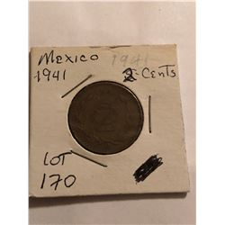 1941 Mexico 2 Cent Nice Early Coin