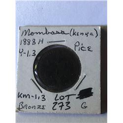 Rare 1888H KENYA Mombasa Pice Coin