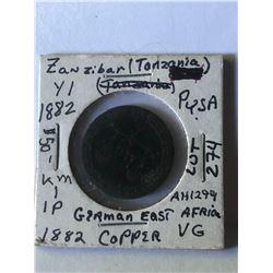 Rare 1882 Tanzania Zanzibar Pysa Coin