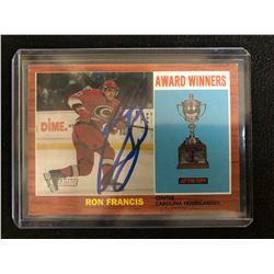 RON FRANCIS SIGNED HERITAGE AWARD WINNERS HOCKEY CARD