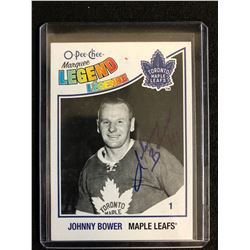 JOHNNY BOWER SIGNED O-PEE-CHEE MARQUEE LEGEND HOCKEY CARD