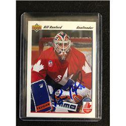 BILL RANFORD SIGNED 1991-92 UPPER DECK HOCKEY CARD (CANADA CUP)