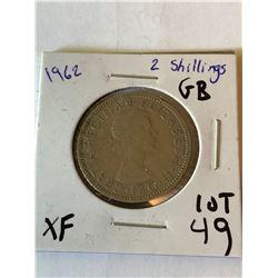 1962 Great Britain 2 Shillings Extra Fine Grade
