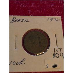 1932 Brazil 100 Reis Coin