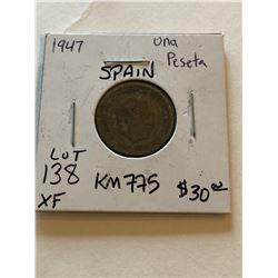 1947 Spanish Una Peseta Extra Fine KM 775