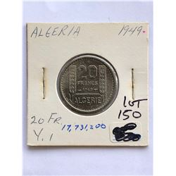 1949 Algeria 20 Francs Coin Hard to Get
