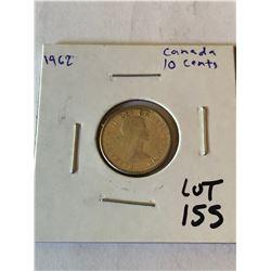 1962 Silver Canada 10 Cents High Grade Coin