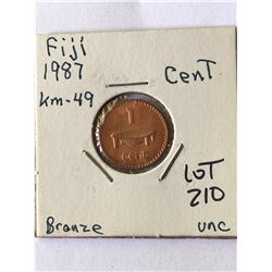 1987 Fiji Penny in UNC Grade