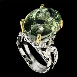 Natural Hand Made Green Amethyst Ring