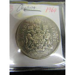 1964 CANADA SILVER HALF DOLLAR
