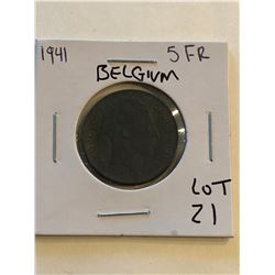 1941 Belgium 5 Francs Nice Early Coin