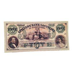 Django Citizen's Bank of Louisiana $5 Bank Note Movie Props