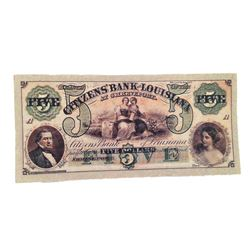 Django Citizen's Bank of Louisiana $5 Bank Note Movie Props