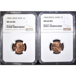 1960 SD & LD LINCOLN CENTS, NGC MS-66 RED