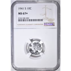 1941-S MERCURY DIME, NGC MS-67+
