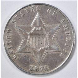 1870 3 CENT SILVER  AU