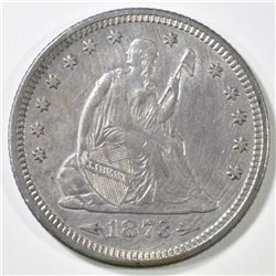 1873 ARROWS SEATED LIBERTY QUARTER   AU