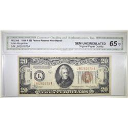 1934 A $20 FEDERAL RESERVE NOTE - HAWAII  CGA GEM