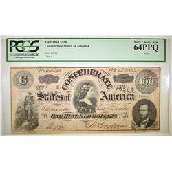 1864 $100 CONFEDERATE STATES OF AMERICA PCGS 64PPQ
