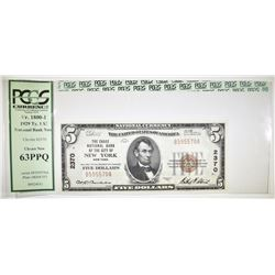 1929 TYPE 1 $5 NATIONAL CURRENCY  PCGS 63 PPQ
