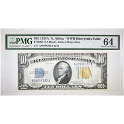 1934 A $10 SILVER CERTIFICATE NORTH AFRICA PMG 64