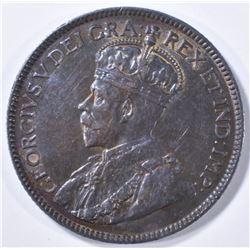 1917 SILVER 25 CENTS CANADA  CH AU/BU