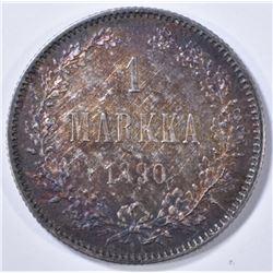 1890 SILVER 1 MARKKA FINDLAND BU