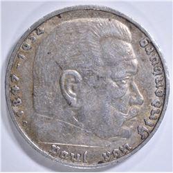 1936D SILVER 5 MARKS  PRE-WWII GERMANY HIDENBURG