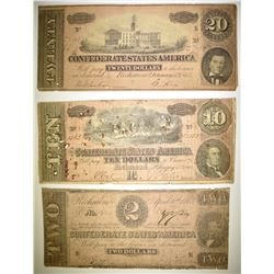 $2, $10, $20 CONFEDERATE CURRENCY