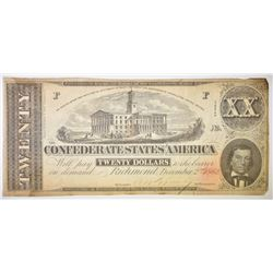 1864 $20 CONFEDERATE CURRENCY