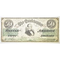 1861 $50 CONFEDERATE CURRENCY