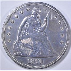 1870-CC SEATED LIBERTY DOLLAR  AU
