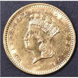 1858 $1 GOLD INDIAN PRINCESS  BU
