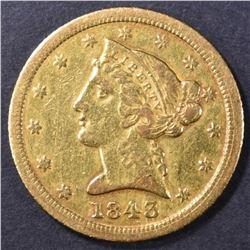 1843-C $5 GOLD LIBERTY  AU