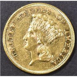 1860 $3 GOLD  AU/BU