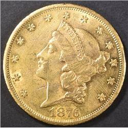 1876-CC $20 GOLD LIBERTY  CH AU