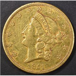 1851-O $20 GOLD LIBERTY  XF