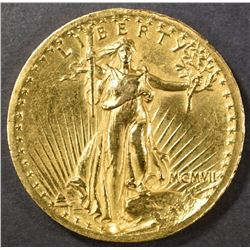 1907 HIGH RELIEF $20 GOLD   AU