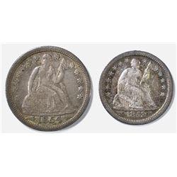 1854 SEATED LIBERTY DIME XF & 1853-O HALF DIME XF