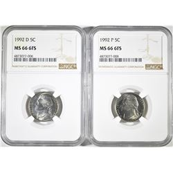 1992-D & 1992-P JEFFERSON NICKELS NGC MS-66 6FS