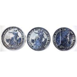2015, 18 & 19 1oz SILVER BRITISH BRITANNIA COINS