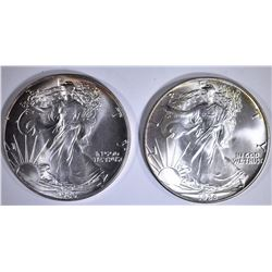 2-BU 1986 AMERICAN SILVER EAGLES 1st YEAR OF ISSUE