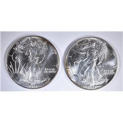 2-BU 1987 AMERICAN SILVER EAGLES