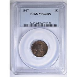 1917 LINCOLN CENT PCGS MS-64 BN