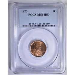 1923 LINCOLN CENT PCGS MS-64 RD