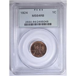 1924 LINCOLN CENT PCGS MS-64 RB